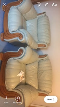 brown and white leather sofa chair London, N18 2PD
