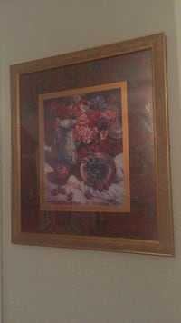 brown wooden framed painting of red petaled flowers Houston, 77042