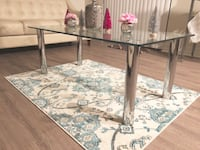 Chrome Glass Table & Rug 922 mi