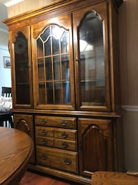 Dining Room Set .Table, 2 captain and 4 reg. chairs, and China Hutch Norfolk, 23513