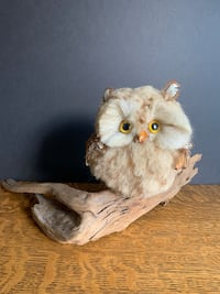 Vintage Faux Owl Perched on Driftwood Mid-Century Kitschy Home Decor