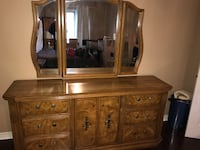 5 piece oak bedroom set.  Must Go!  Includes dresser, mirror, 2 night tables and armoire.