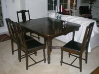 rectangular brown wooden table with four chairs dining set Mississauga, L5G 1A2
