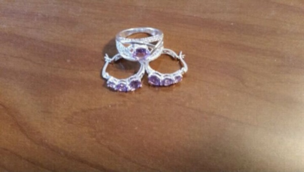 Amethyst and white topaz ring and earring set.