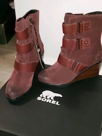 New! Stunning SOREL Wedge Genuine Leather Boots! Waterproof!  Sz 5.5