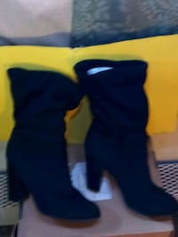 Black suede ankle high heel boots liking you