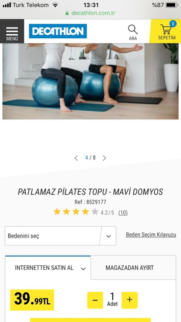 Pilates topu decatlon
