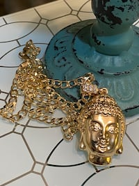 Gold Plated Buddha Pendant With Chain Necklace