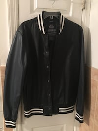black and white leather zip-up jacket Reston, 20190