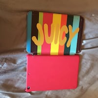 pink and blue Juicy iPad leather flip case