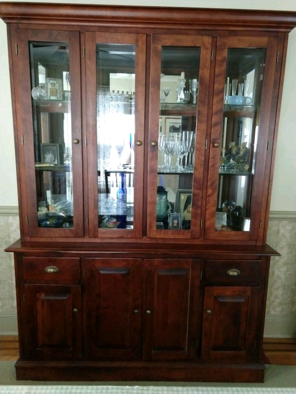 Used Brown Wooden China Cabinet With For In Mineola