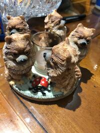 Vintage candle holders with 5 dogs, very unique, great for display in cabinet too!!  Hamilton, L9A 1T3