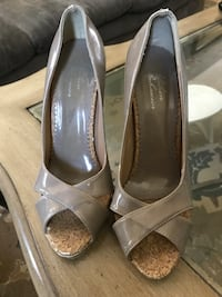pair of gray peep-toe pumps Innisfil