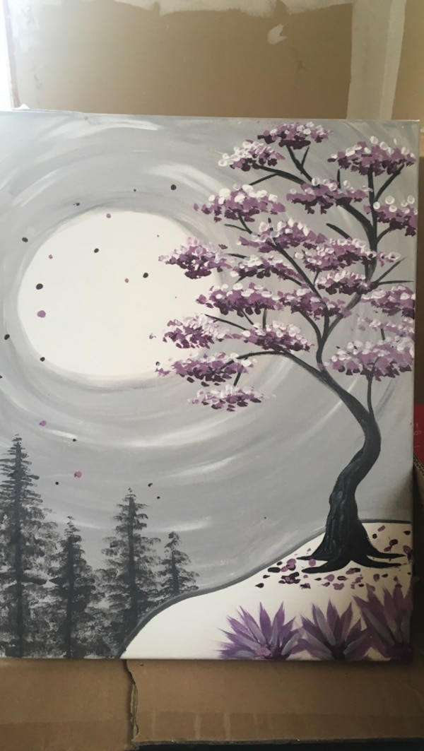 multi-colored cherry blossom tree painting