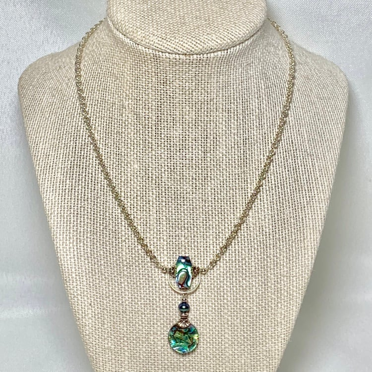 Genuine Sterling Silver Abalone Necklace 5da28836-d284-4202-8a2b-49b876aa20ab
