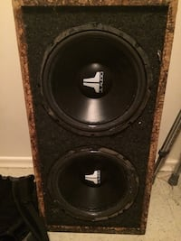 Black and gray jl audio subwoofer speaker