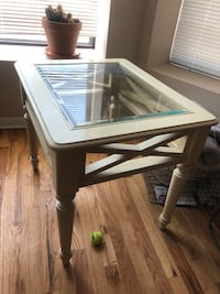 Cream wood, glass-top end table Northbrook, 60062