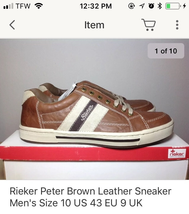 Used, brown-and-white Rieker Peter low-top sneakers screenshot for sale  Punta Gorda