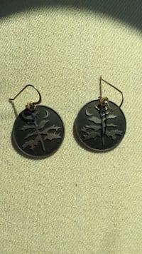 Two black-and-silver hook earrings Somerville, 08876