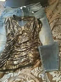 Black and gold top..denim jeans with zipped ankle' Woodbridge, 22192