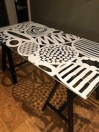 White and black wooden table Mississauga, L5C 1S6