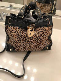 brown and black leopard print leather tote bag Palm Desert, 92260