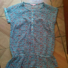 women's teal and red floral dress