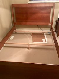 Solid wood Queen bed frame w 2x nightstands Port Moody, V3H 5J4