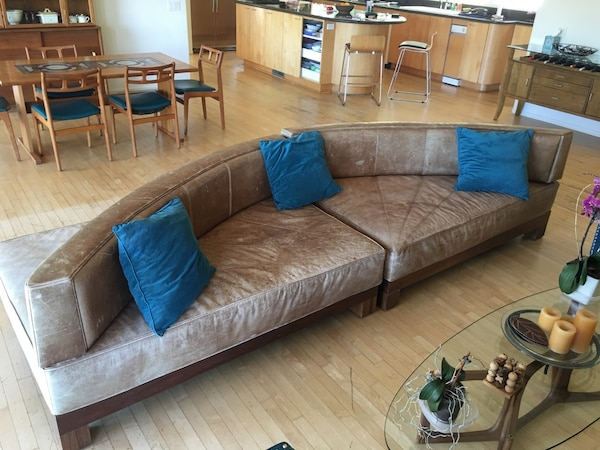 Swell Double Sided Brown Leather Couch Andrewgaddart Wooden Chair Designs For Living Room Andrewgaddartcom