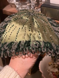 Antique woman's beaded silk and bead hat
