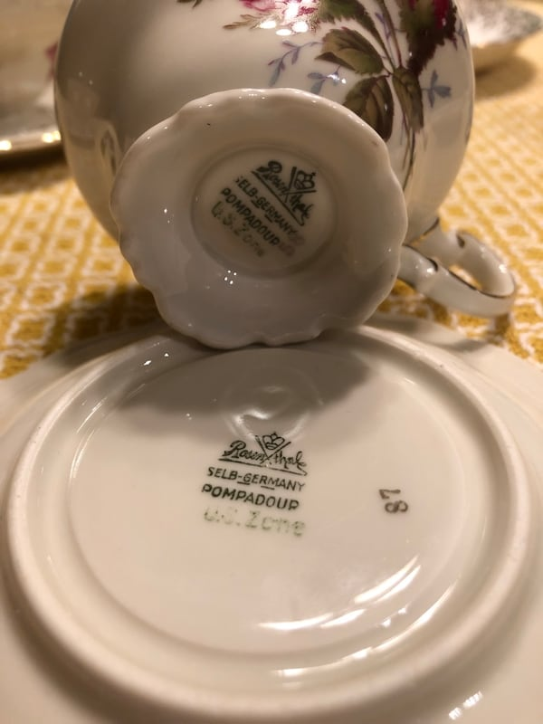 Rare and unique tea cups and saucers.  Some from Germany. England and France.  Free delivery.    3818bce1-90a1-4b72-bbe1-de2eeda011f2