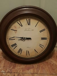 brown wooden frame analog wall clock Dover, 19901
