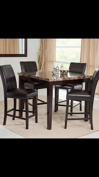 rectangular brown wooden table with six chairs dining set Montréal, H3K 1T4