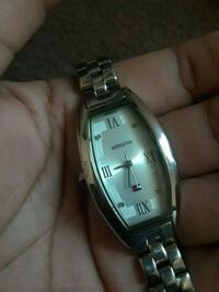 square silver-colored analog watch with link bracelet 1164 mi