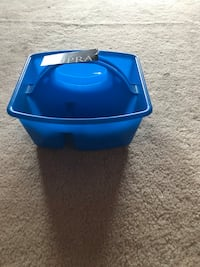 Blue and black plastic container