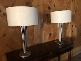 """Metal Art Deco table lamps 29"""" tall, very heavy"""