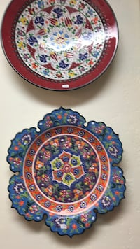 blue and red floral ceramic plate