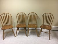 four brown wooden windsor chairs Columbia, 21046