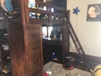 Eaton Young twin loft bed with desk, shelves and drawers, very sturdy, great condition null