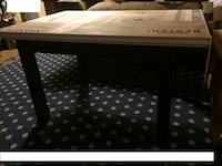 Coffee table w/glass top (top made with wine box panels) WOBURN