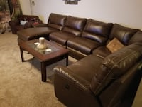 brown leather sectional couch and ottoman 1460 mi