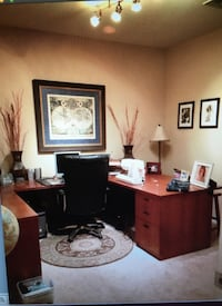 HOA brand name solid wood office desk with filing cabinet and keys Las Vegas