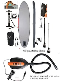 """Awesome 11ft7"""" inflatable standup paddle board w/ two paddles & quick electric pump Miami Beach, 33139"""