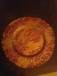 Large decorative plate gold and burgundy  Waldorf, 20603