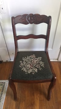 Vintage embroidered wooden chair