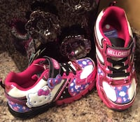 Hello Kitty toddler's white, fuchsia, pink, blue, & black running shoes- lights up, brand new with tag Calgary, T2J