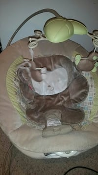 baby's brown and green bouncer
