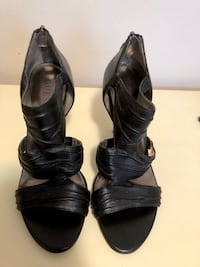 Black Leather Sandal Stiletto Heel by Guess - Size 8.5