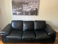 Black leather couch set (3 seat couch, armchair and ottoman)   Montréal, H3H