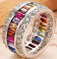 S925 size 9 beautiful multi color ring Hedgesville